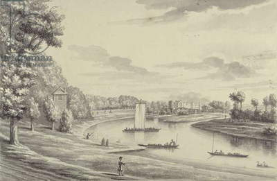 A West View of Hampton Court Ferry and Hampton Church at a Distance, 1731-33 (pen & black ink and wash on laid paper)