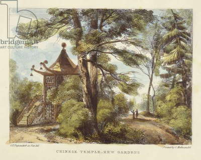 Chinese Temple, Kew Gardens, plate 13 from 'Kew Gardens: A Series of Twenty-Four Drawings on Stone', engraved by Charles Hullmandel (1789-1850) published 1820 (hand-coloured litho)