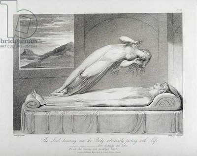 The soul hovering over the body reluctantly parting with life, pl.7, illustration from the book 'The Grave, A Poem' by William Blake (1757-1827) engraved by Luigi Schiavonetti (1765-1810), 1808 (etching)