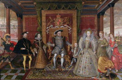 An Allegory of the Tudor Succession: The Family of Henry VIII, c.1589-95 (oil on panel)