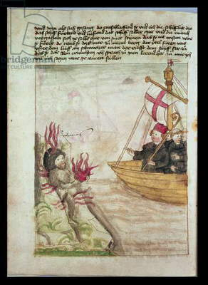 St. Brendan in his ship, from the German translation of 'Navigatio Sancti Brendani Abbatis', c.1476 (vellum)