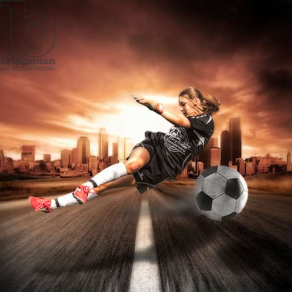 Soccer Girl, 2012, (Direct Print on Brushed Aluminium, BUTLERFINISH® Look)