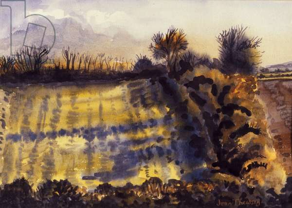 Field with Long Shadows,1990, water colour on handmade paper