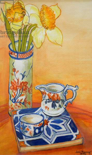 Chinese Vase with Daffodils, Pot and Jug,2014 (watercolour)