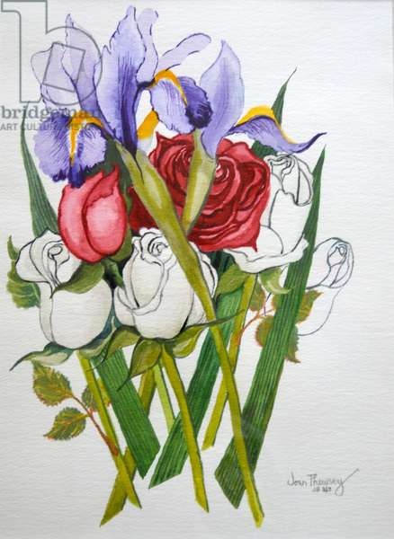 Irises and Roses,2007 (watercolour)