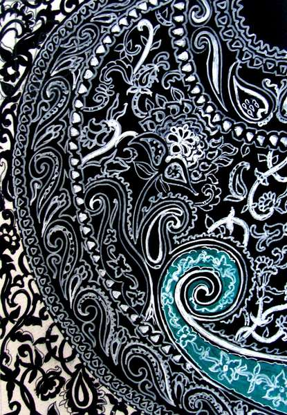 Paisley study Ink on watercolour paper