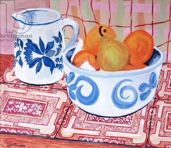 Still-Life; Blue and White Bowl and Jug; Gouache