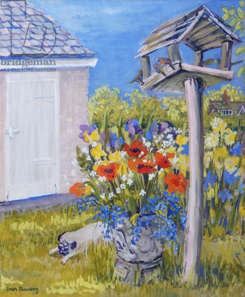 Cottage Garden with Birdhouse and Pug, 2011,gouache