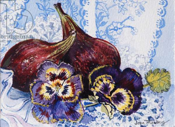 Two Figs with Pansies, 2002,(w/c on handmade paper)