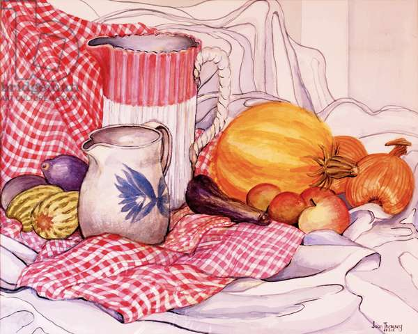 Still-Life with Two Jugs and Vegetables, 2013,Pencil with water colour