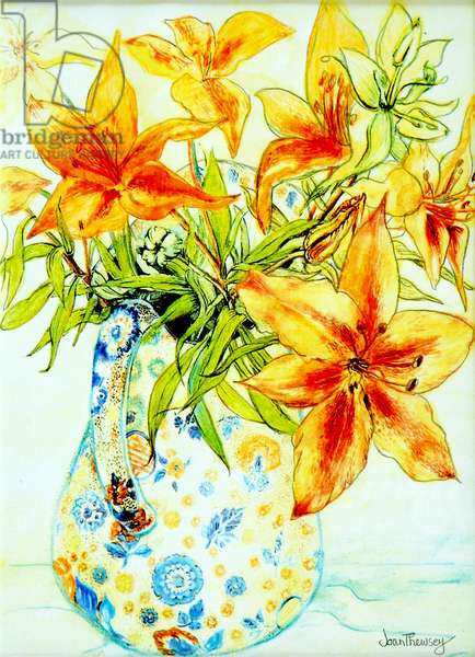 Orange Lilies in a Japanese Vase, 2000,(watercolour)