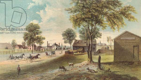Harlem Lane, from Central Park to Manhattanville, 1865 (colour litho)