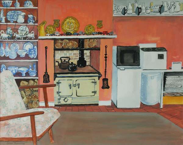 Cottage Kitchen,Red Cottage Studios,Suffolk with Rayburn,2000, gouache