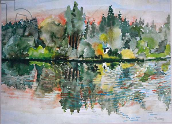 The Lake at Sunset, Bremes les Ardres, 2000,(watercolour)