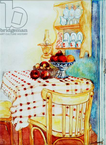 Cottage Kitchen Table with Apples, 2005,(water colour)