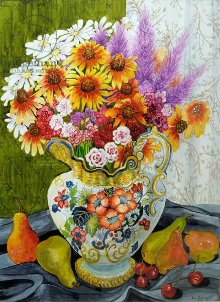 Victorian Jug with Mixed Flowers,Pears and Cherries,2010,gouache