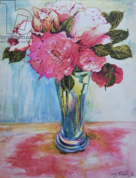 Pink Roses in a Blue Glass, 2000,(watercolour)