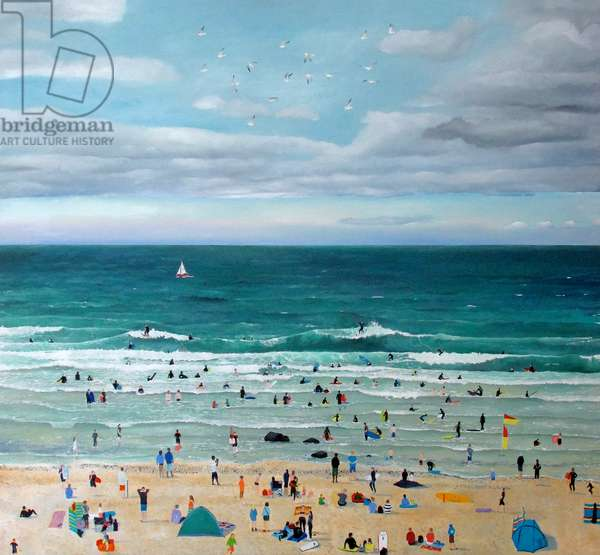 Surfers Cloudy Sky (oil on linen)