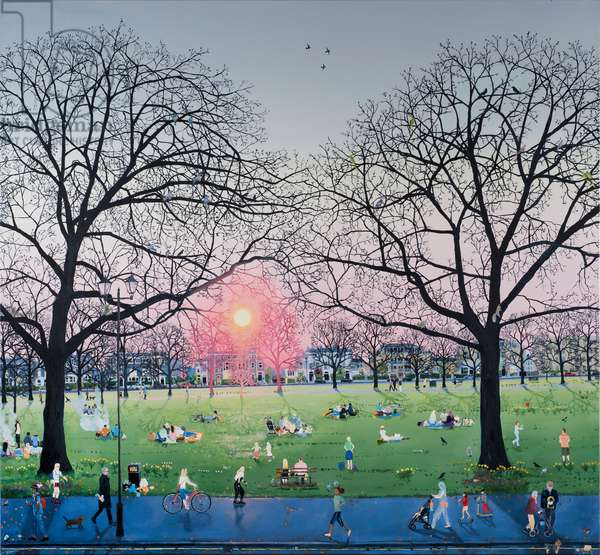 Sunset in park, 2017, (oil on canvas)
