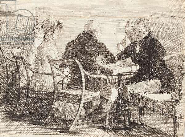 Backgammon, 1808 (pen & ink on paper)