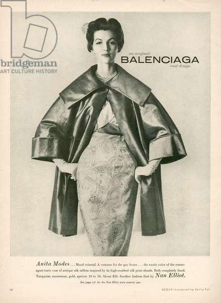 Balenciaga Magazine Advert, 1950s (litho)