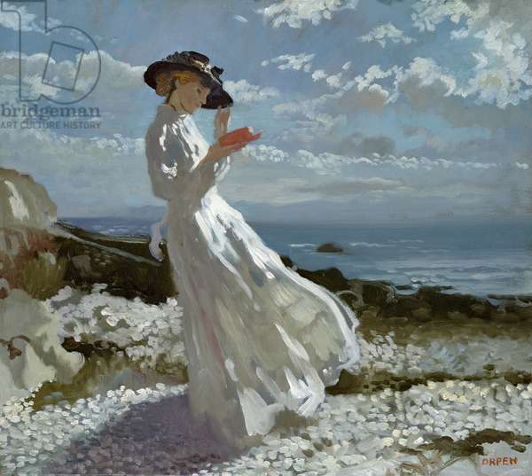 Grace reading at Howth Bay (oil on canvas)