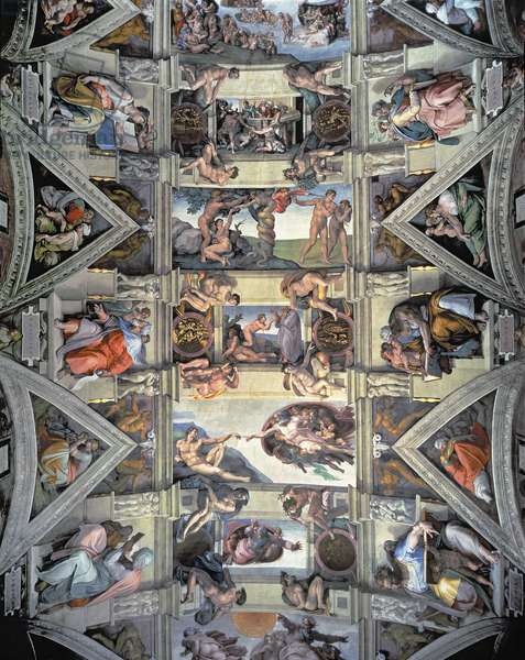 Sistine Chapel ceiling and lunettes, 1508-12 (fresco) (post restoration)