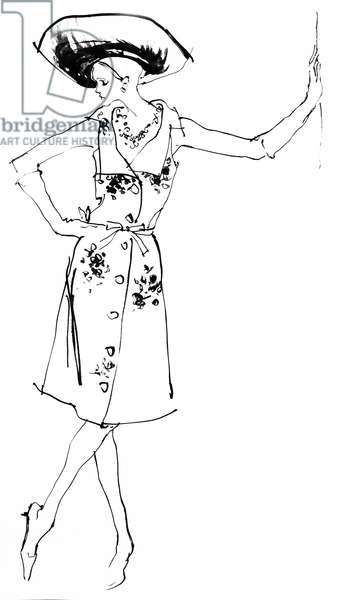 Fashion Drawing, 1970s (pen and ink on paper)