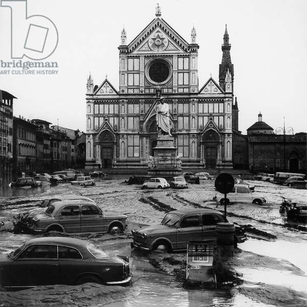 View of the Piazza Santa Croce after the flood of Florence, 4th November 1966 (b/w photo)