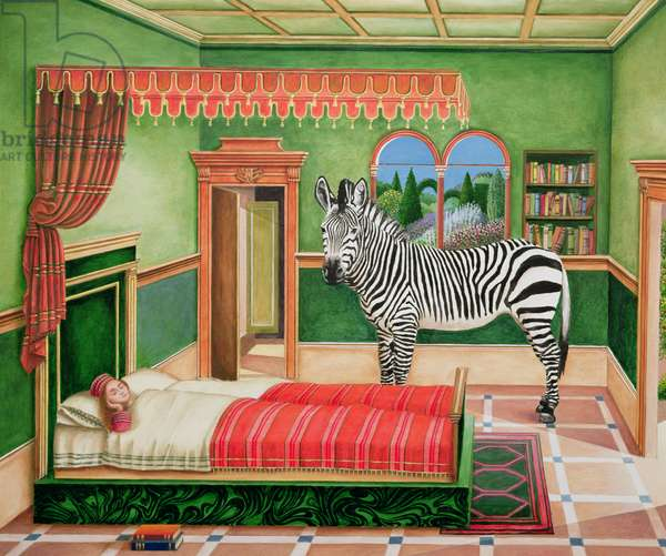 Zebra in a Bedroom, 1996 (acrylic on board)