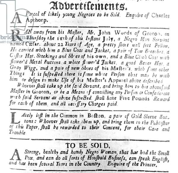 Advertisements for slaves, printed in the 'Boston Evening Post', 16th July 1739 (print)
