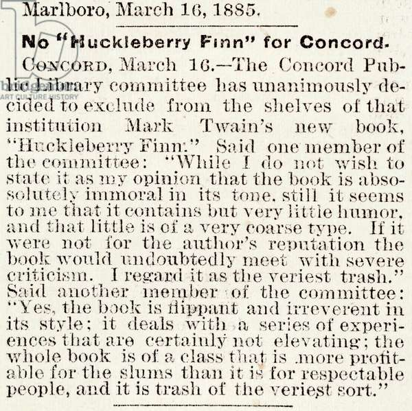 Article in the 'Boston Daily Globe' regarding the banning of 'Huckleberry Finn' in Concord, Massachusetts, from the 16th March, 1885 (newsprint)