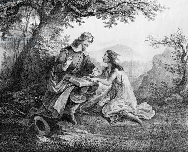 Captain John Smith (1580-1631) teaching Pocohontas (c.1595-1617) to read (engraving)