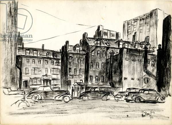 Chinatown from Harrison Avenue, 1938 (brush & black ink on paper)