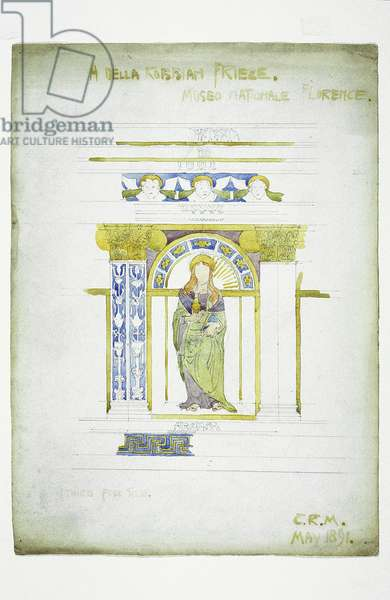 A Della Robbian [sic] Frieze, Museo Nationale, Florence, 1891 (pencil and watercolor on paper)