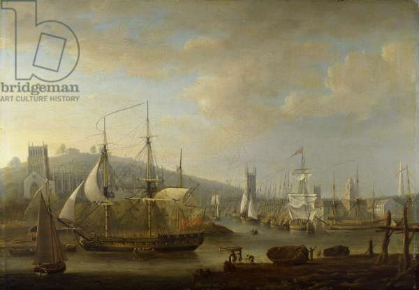 View of Bristol Harbour showing the Cathedral, 1785 (oil on canvas)
