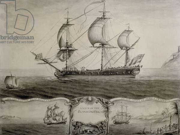 Views of the Blandford Frigate on the Passage to the West Indies and Trading on the Coast of Africa, c.1760 (pen & ink and wash)