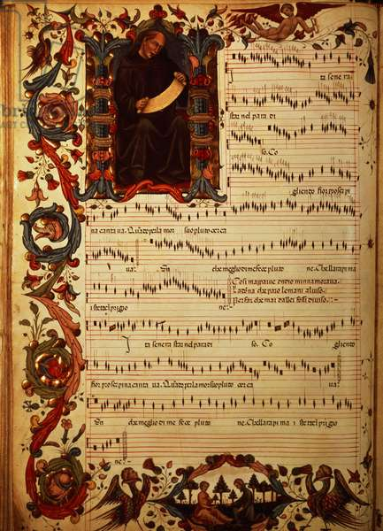 Ms Med. Pal. 87 Page of Musical Notation with historiated initial, from the Squarcialupi Codex, produced at the Florentine monastery of S. Maria degli Angeli (vellum)