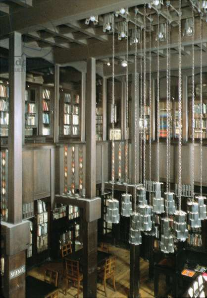 Interior of Glasgow School of Art, library, Scotland, UK; built 1897-1909 by Charles Rennie Mackintosh, (1868-1928) (photo)