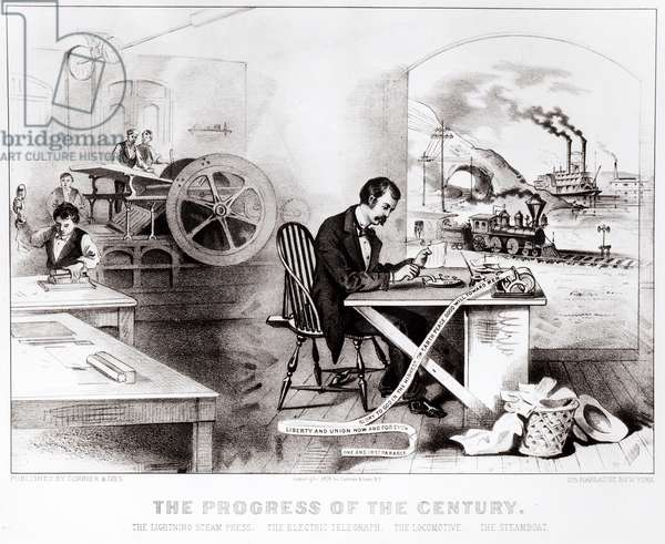The Progress of the Century: The Lightning Steam Press, the Electric Telegraph, the Locomotive and the Steamboat, pub. by Currier & Ives, 1876 (litho) (b&w photo)