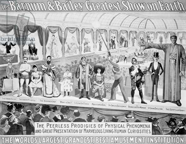 Poster advertising, 'The Barnum and Bailey Greatest Show on Earth, the World's Grandest, Largest, Best Amusement Institution', c.1895 (colour litho) (b/w photo)