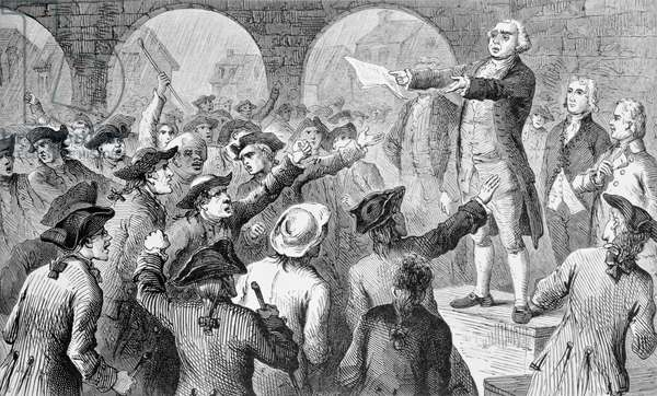 John Lamb speaking at the Sons of Liberty Meeting at New York City Hall Concerning the Landing of British Tea in New York, December 17th 1773, engraved by John Karst (1836-1922) (engraving) (b&w photo)
