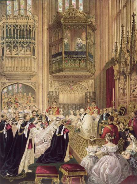 The Marriage of Edward VII (1841-1910) Prince of Wales to Princess Alexandra (1844-1925) of Denmark, St. George's Chapel Windsor, 7th March 1863 (colour litho)