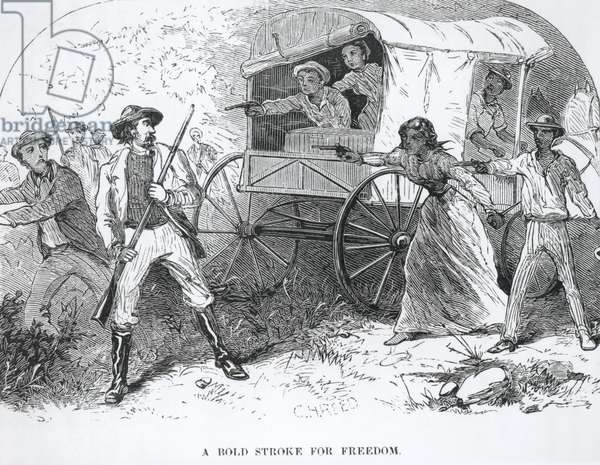 A Bold Stroke for Freedom, from 'The Underground Railroad', by William Still, 1872 (engraving) (b&w photo)