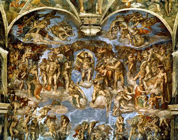 Sistine Chapel: The Last Judgement, 1538-41 (fresco) (pre-restoration)