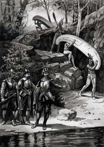 Champlain Exploring the Canadian Wilderness, 1603, from 'The American Continent and its Inhabitants before its Discovery by Columbus', by Anne C. Cady, 1893 (litho) (b&w photo)