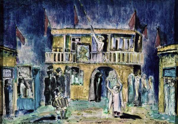 Stage design for the play 'Unforgettable Days', c.1987 (pastel on cardboard)