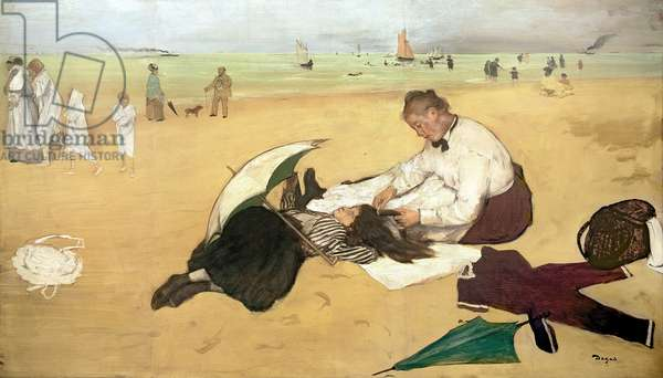 Beach scene: little girl having her hair combed by her nanny, c.1876-77 (oil on paper)