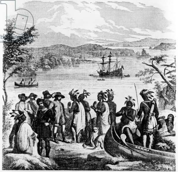 Henry Hudson Descending the Hudson River, illustration from Ballou's Pictorial Drawing-Room Companion, April 12th 1856 (engraving)
