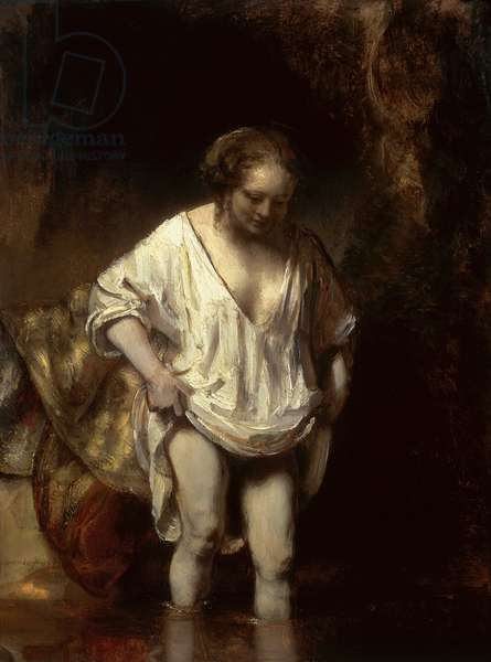 Woman Bathing in a Stream, 1654 (oil on panel)